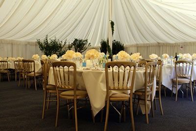 outdoor banquet reception with tent